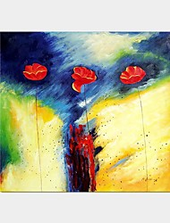 Pintados à mão Fantasia Floral/Botânico Horizontal Panorâmica,Moderno Clássico 1 Painel Tela Pintura a Óleo For Decoração para casa