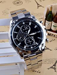 Homens Relógio Elegante Relógio de Moda Quartzo Aço Inoxidável Banda Pendente Casual Prata