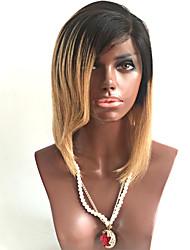 Недорогие -человеческие волосы Remy Полностью ленточные Парик Бразильские волосы Прямой Омбре Парик Челка на бок 130% Плотность волос / Волосы с окрашиванием омбре / Природные волосы / 100% ручная работа
