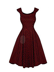 cheap -Women's Daily Going out Vintage Little Black Dress,Solid Houndstooth Round Neck Above Knee Sleeveless Polyester Summer Mid Rise Inelastic