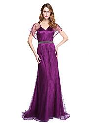 guaina / colonna sweep v / collo treno pennello stretch satinato madre del vestito sposa con bordare da lan ting bride®