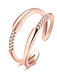 preiswerte -Ringe Alltag Normal Schmuck Zirkon Kupfer versilbert Rose Gold überzogen Ring 1 Stück,Verstellbar Silber Rotgold