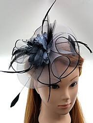 cheap -Tulle Feather Net Fascinators Hats Headwear Birdcage Veils with Floral 1pc Wedding Special Occasion Headpiece