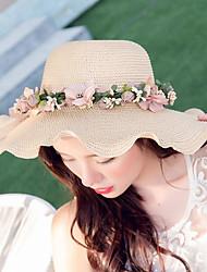 Feminino De Palha Chapéu de sol Feminino Casual Verão Palha