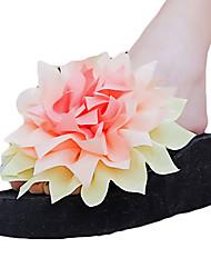 Women's Slippers & Flip-Flops PU Summer Casual Outdoor Satin Flower Flat Heel White Black Purple Fuchsia Green Flat