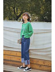 лимон знак -2017 весной студенты новой леди студент школы свежие темные джинсовые брюки девять очков
