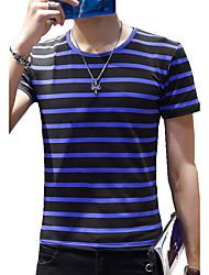 Tee-shirt Hommes,Rayé Plage Sportif Grandes Tailles Vintage Chic de Rue Actif Eté Manches Courtes Col Arrondi Bleu Blanc Noir Gris Jaune
