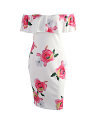 Women's Off The Shoulder Ruffle Casual/Daily Sexy / Vintage Backless Off-The-Shoulder Sheath Dress,Floral Boat Neck Above Knee Short Sleeve
