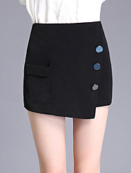 Plus Size Slim Shorts Pants,Going out Casual/Daily Simple Cute Solid Beaded High Rise Zipper Polyester Micro-elastic Summer