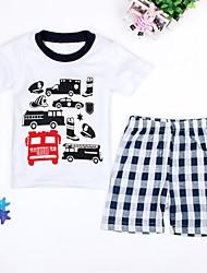abordables -Ensemble de Vêtements Garçon Quotidien Plage Vacances Damier Coton Polyester Printemps Eté Manches Courtes Dessin Animé Blanc