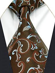 Cravatta Uomo Vintage Romantico Da serata Da ufficio Casual,Per tutte le stagioni Marrone Seta A paisley