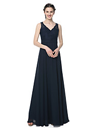 cheap -A-Line V-neck Floor Length Chiffon Lace Bridesmaid Dress with Lace Sash / Ribbon Pleats by LAN TING BRIDE®