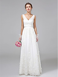 cheap -A-Line V-neck Floor Length Lace Wedding Dress with Sash / Ribbon Flower by LAN TING BRIDE®
