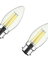 2PCS 4W B22/E27 LED Filament Bulbs C35 4COB 300-400 lm Warm White Dimmable AC 220-240/110-130 V