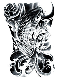cheap -LC2814 21*15cm 3D Large Big Tatoo Sticker Sketch Black Golden Fish Drawing Designs Cool Temporary Tattoo Stickers