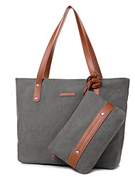 Women Bags Canvas Bag Set 2 Pieces Purse Set for Casual All Seasons Blue Black Beige Gray Coffee