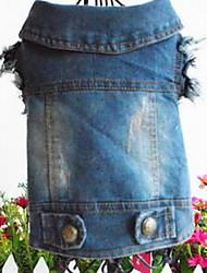 baratos -Cachorro Jaquetas Jeans Roupas para Cães Casual Esportes Sólido Azul
