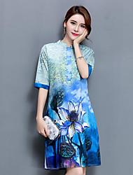 Dámské Vintage Čínské vzory Jdeme ven Běžné/Denní Volné Šaty Květinový,Poloviční délka rukávu Kulatý Nad kolena Modrá Hedvábí Léto Podzim