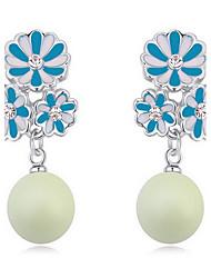 Da donna Orecchini a bottone Cristallo Perle Natura Cristallo austriaco Lega Gioielli Gioielli Per Quotidiano