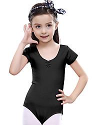 Balé Vestidos Crianças Treino Algodão Frufru 1 Peça Manga Curta Natural Malha Collant