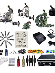cheap -Tattoo Machine Professional Tattoo Kit 2 steel machine liner & shader High Quality LED power supply 1 x aluminum grip 4 x disposable grip