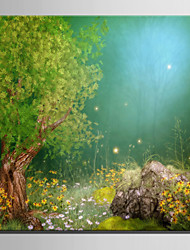 E-HOME® Stretched LED Canvas Print Art Fireflies in The Woods LED Flashing Optical Fiber Print One Pcs