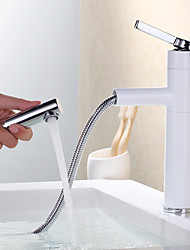 Modern Centerset Pullout Spray Ceramic Valve One Hole Single Handle One Hole Painting , Bathroom Sink Faucet