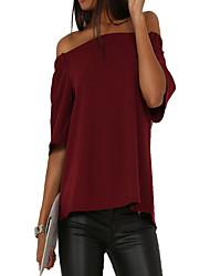 Tee-shirt Femme,Couleur Pleine Sortie Décontracté / Quotidien Sexy simple Printemps Automne ½ Manches BateauBleu Rose Rouge Beige Noir