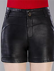 Women's Plus Size Slim Shorts Pants,Casual/Daily Work Sexy Cute Solid Split High Rise Zipper Button PU Micro-elastic Summer
