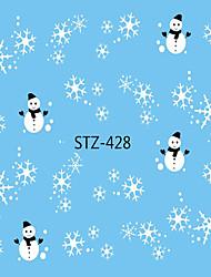 cheap -1pcs Water Transfer Sticker Nail Sticker Christmas Ornaments Nail Stamping Template Nail Art Design Nail Decals Christmas
