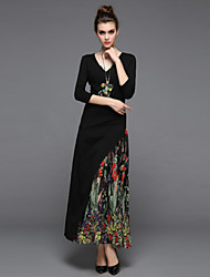 ZIYI Casual/Daily Simple Sheath DressPrint V Neck Maxi  Sleeve Polyester Black Spring Summer Mid Rise Inelastic