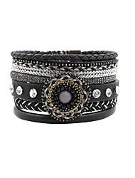 cheap -Leather Bracelet Bohemian Friendship Handmade Fashion Crystal Leather Rhinestone Alloy Irregular Flower Jewelry Christmas Gifts Wedding