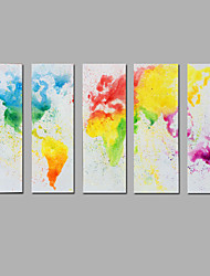 cheap -Modern Abstract  Hand-painted  Canvas Painting The Map Three Panels Ready to Hang  Canvas Oil Painting For Home Decoration