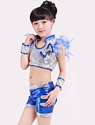 cheap -Jazz Outfits Children's Performance Polyester Spandex Sequin Bow(s) Splicing Sleeveless High Top Bracelets Shorts