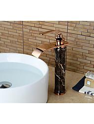 Moderne Set de centre Jet pluie with  Soupape céramique Mitigeur un trou for  Or rose , Robinet lavabo