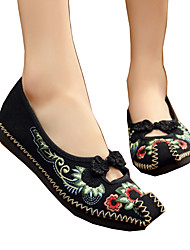 cheap -Women's Flats Spring Summer Fall Winter Comfort Novelty Embroidered Shoes Canvas Outdoor Athletic Casual Flat Heel Flower Black Red