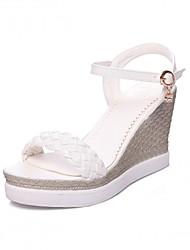 Damen Schuhe Kunststoff Kunstleder PU Frühling Sommer Herbst Komfort Neuheit Sandalen Walking Keilabsatz Peep Toe Schnalle Für Normal