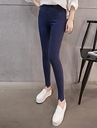 assinar 2017 grandes jardas stovepipe jeans leggings desgaste exterior preto pé calças femininas calças coreano
