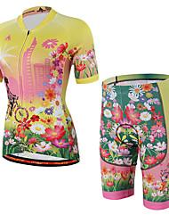 baratos -Manga Curta Camisa com Shorts para Ciclismo - Amarelo Moto Shorts / Camisa / Roupas Para Esporte / Shorts Acolchoados, Respirável, Tapete 3D, Tiras Refletoras, Redutor de Suor Poliéster Natureza e