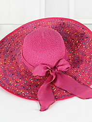 Bow Beach Cap Floppy Foldable Girls Big Wide brim Straw hat