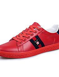 Sneakers-Tempo libero Casual-Comoda-Piatto-Di pelle-Nero Rosso Bianco