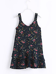 cheap -Girl's Beach Floral Print Dress,Cotton Summer Sleeveless Floral Blue