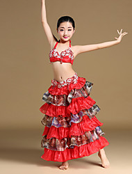Břišní tanec Úbory Dětské Výkon Čínský nylon Organza SaténLemování Kaskádové volánky Křišťály / Bižuterie Palety barev Nabíraný Rozparek