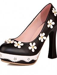 cheap -Women's Shoes Leatherette / PU(Polyurethane) Spring / Summer Comfort / Novelty Heels Walking Shoes Chunky Heel Round Toe Black / Green /