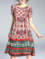 baratos -Mulheres Moda de Rua Evasê Vestido - Estampado Altura dos Joelhos