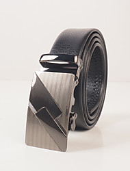 Men's wear resistant PVC black lizard embossed fashion leisure automatic buckle belt body is about 3.6 cm wide