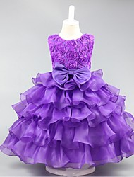 Ball Gown Short / Mini Flower Girl Dress - Organza Sleeveless Jewel Neck with Ruffles by YDN