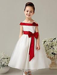 vestito dalla ragazza di fiore della lunghezza della caviglia dell'abito di sfera - organza sleeveless fuori-la-spalla con il fiore di ydn