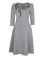 Women's Plus Size Party Vintage Sheath Dress,Embroidered Round Neck Knee-length ¾ Sleeve Polyester Gray Green Summer High Rise