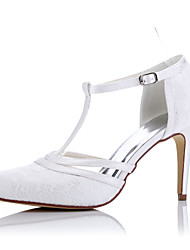cheap -Women's Shoes Tulle Spring Summer Comfort Heels Stiletto Heel Closed Toe for Wedding Dress Party & Evening White